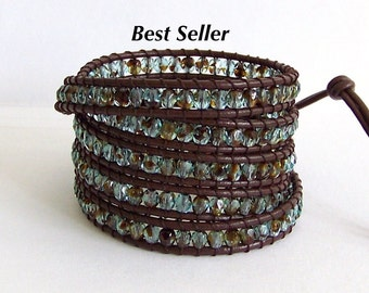 Beaded Leather Wrap Bracelet - Blue and Brown Crystals, Brown leather - Bohemian Chic