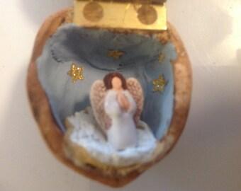 Miniature Angel in Walnut Shell Diorama Folk Art