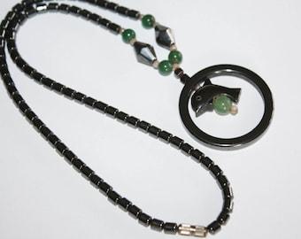 Hematite Necklace  Jade Dolphin Pendant 1970s  Vintage Jewelry