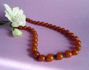 India Amber and Silver beads Necklace