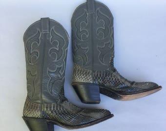 Vintage NOCONA Grey Leather Snakeskin Cowboy Boots sz 5.5 w Heel