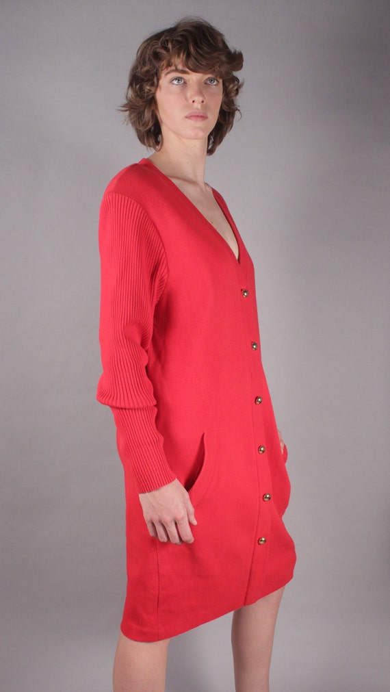 80s Neiman Marcus Red Sweater Dress w Ribbed Sleeves & Gold Buttons