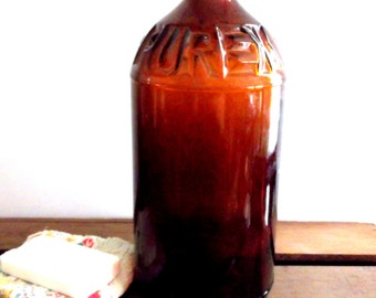 Vintage Amber Glass Bottle, Purex Bleach Bottle, Vintage Bleach Bottle,  Brown Glass Bottle, Collectible Bottle, Rustic Country Home Decor