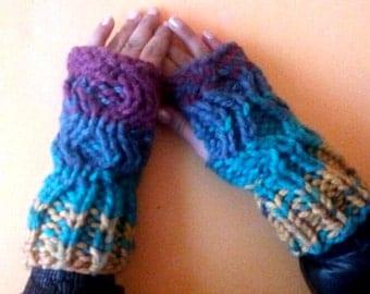 Fingerless Gloves,Hand Knit Armwarmers,Wool Mittens,Winter Short Unique Fingerless gloves,Multicolored Mittens,Fingerless Mittens,Mits