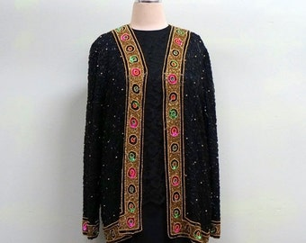 Formal Duster Beaded Trophy Jacket MEDIUM LARGE Black Beads on Black Silk Jewel Tone Sparkle Trim Gold Red Green Glittering Beads Tan-Chho