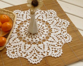 Crochet doily Lace doily White doilies White lace doily Vintage decor Large crochet doily 15 inches Crochet tablecloth 362