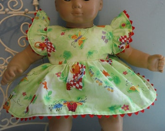 15 or 16 inch Bitty Baby lime green sundress with matching panties and headband by Project Funway on Etsy