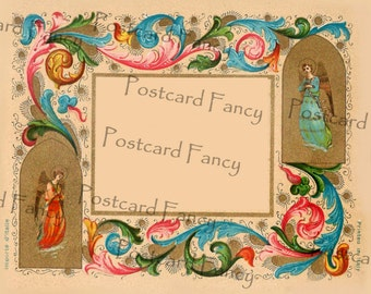 Lovely Digital Italian Art Border on Vintage CHRISTMAS Card, Instant DIGITAL Download, Add text or photo