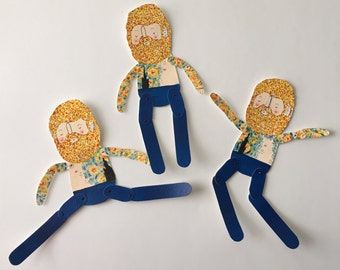 Vincent Van Gogh - paper doll- articulated- Handmade, Hand Painted- OOAK -Ready to Ship- Vintage Artist