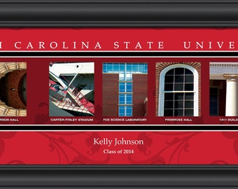 PERSONALIZED & FRAMED NCAA North Carolina State Wolfpack Letter Art Sports Prints