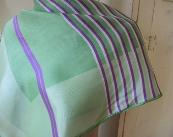 Vintage 1960s acetate scarf green and purple striped 23 x 23 inches