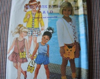vintage 1990s Simplicity sewing pattern 7732 UNCUT girls dress or top shorts cardigan and purse size AA 2-4