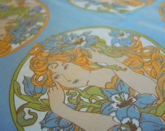 Vintage brushed cotton fabric blue Art Nouveau style girls  44 inches wide BTY