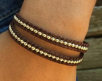 Sterling Silver Wrap Bracelet, Sterling Silver Bracelet, Boho Wrap, Leather Wrap, Adjustable Bracelet, Double Wrap, Gift for Her