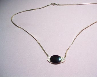 Vintage rhinestone pendant necklace, vintage necklace, hippie, boho, retro