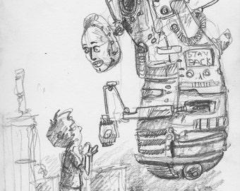 MomBot-Print of my original Sketchbook page
