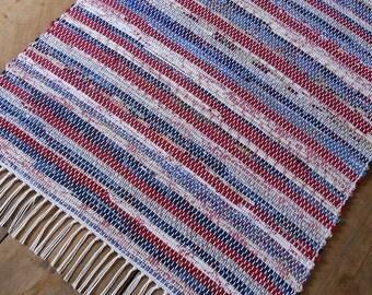 2x4 Rag Rug / Red, White, Blue
