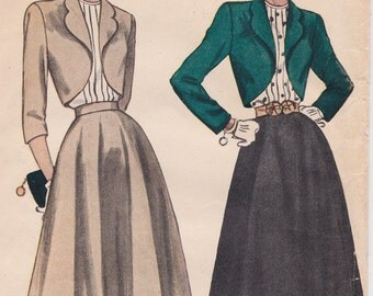 1948 Misses' Vintage Bolero / Circlular Suit and Blouse Sewing Pattern [Simplicity 2372] Size 13, Bust 31, Partially Cut