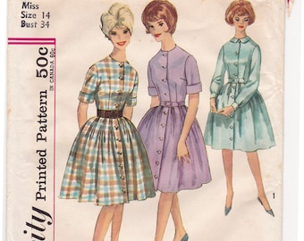 """FF 1950s Bust 34"""" Women's Full Skirt Dress with Front Buttons Vintage Sewing Pattern [Simplicity 4519] Shirtdress Size 14, UNCUT"""