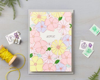 Seventies Floral Love Card