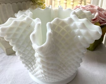 Large Westmoreland  Milkglass  English Hobnail Centerpiece Bowl
