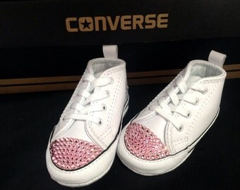 Converse Infant Baby Girl Bling White Leather Chuck Taylor First Star Shower Christening Gift w/ Swarovski Crystal Rhinestone Crib Shoe