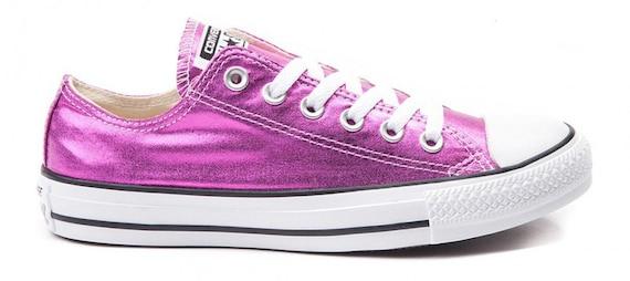 Fuchsia Pink Converse Low Top Magenta Metallic Chuck Taylor Custom Kicks w/ Swarovski Crystal Rhinestone Jewel Bling All Star Sneakers Shoes