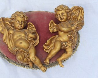 "Gold Cherub Wall Decorations, Set of Two, Vintage Wall Decor Homco gold wall decor, angels, plaster chalkware wall hanging, 10"" gold angels"