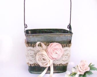 Rustic Flower Girl Pail, Flower Petal Basket, Wedding Basket Pail, Flower Pail, Custom Color Flower Girl Pew Decoration, Wedding Decor,