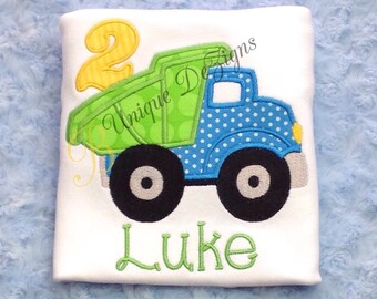 Applique DumpTruck, Applique Birthday Shirt with Number T-Shirt or Bodysuit, Boys Birthday Shirt, Dump Truck Shirt, Transportaion, Vehicle