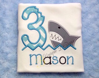 Shark Bite Shirt, Shark Birthday Number, Fish Tank, Aquarium, Boys Birthday T-Shirt or Bodysuit, Tops, Appliqué Birthday Shirt