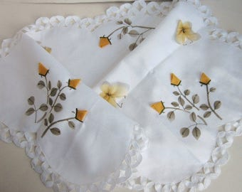 Vintage Yellow & White Table Runner, Butterfly Table Runner, Floral Table Runner, Polyester Table Runner, Embroidered Table Runner