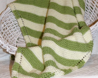 Soft Knit Baby Blanket in Green and Cream Stripes