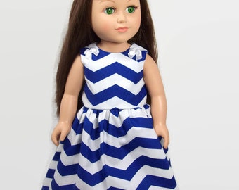 "18"" Doll Clothes - Nautical Blue and White Chevron Dress - American Made Doll Clothes"