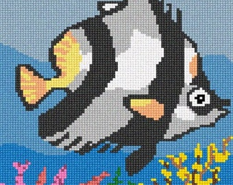 Needlepoint Kit or Canvas: Tropical Fish 2