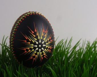 Chicken Egg Pysanka Ornament, Wax Embossed Pysanka, Drop Pull Pysanky