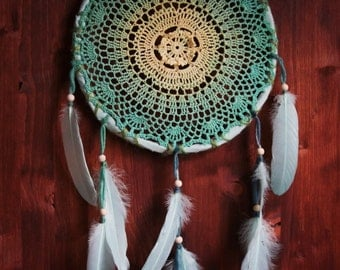 Dream Catcher - Sea at Winter - Unique Dream Catcher with Yellow-Turquoise Crochet Web and Light Green Feathers - Crochet Dream Catcher