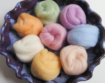 Wool Roving | PASTELS Collection 8 colors of 100% Wool roving for Needle Felting, Spinning, Wet Felting - 2 oz set