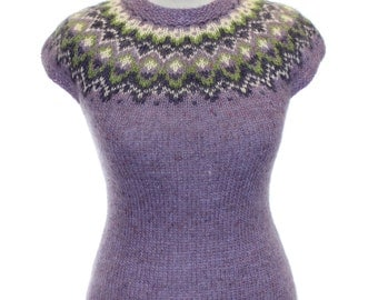 "Sleeveless pullover ""The Eastern Love""/ OOAK / knitted sweater / women sweaters / iceland sweater / Lilac sweater / Fair Isle"