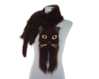 Burmese cat Knitted Scarf / Fuzzy Soft Scarf /  dark brown scarf / knited cat scarf / animal scarf / Cat Breed Scarf / custom pet portrait