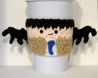 Crocheted Castiel Supernatural Coffee Cup Cozy