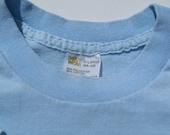 Vintage 1970s Light Blue T-Shirt M/XL Sears Body Wear 50 50 Cotton Poly Blend