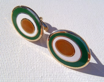 Vintage 1960s Green and Gold Buckeye Oval Cuff Links