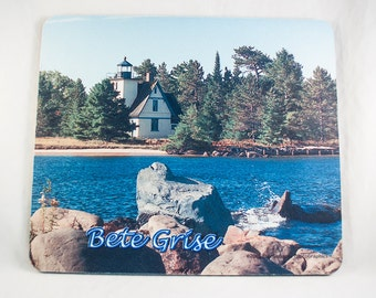Mousepad, Lake Superior Michigan Lighthouse  Design 2, Office Décor, Photograph, Artistic, Office Accessory