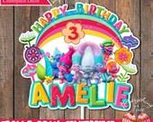 Trolls Theme Birthday Girl Colors Centerpiece Decoration