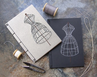 Sewing Mannequin. Embroidered A5 Notebook. Vintage Style. Art Notebook. Sewing Notebook. Dressmaker's Journal. Old Fashioned Sew Journal