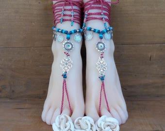 Foot jewels - barefoot - beach jewelery - sandals - flip flops - gypsy jewelry - gypset - boho - hippie - yoga - Ibiza - Bahia Del Sol.