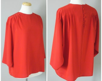 Vintage RED POPOVER BLOUSE/size Medium-Large