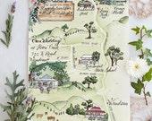 Watercolour Wedding map
