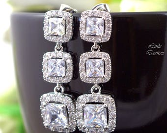 Cubic Zirconia Earrings Sqaure Cut Sparkly Bridal Earrings Wedding Earrings Dangle Earrings Hypoallergenic High Quality Designer Jewelry